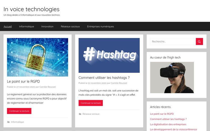 In voice technologies - Un blog dédié à l'informatique et aux nouvelles technos
